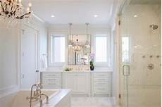 All White Master Bathroom Ideas by All White Master Bathroom With Chandelier Tub