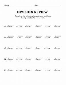 5th grade math worksheet division math review multi digit division worksheet education