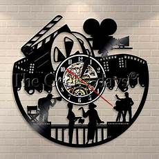 Inch Black Popcorn Wall Clock Theater by Cinema Vinyl Record Wall Clock Ticket Wall