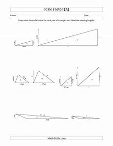 the determine the scale factor between two triangles and determine the missing lengths scale