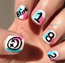 blink 182 nail art true fan would do this band nails