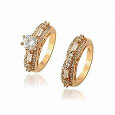 buy xuping jewelry studded detail wedding ring 18k gold