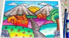 Cara Menggambar Dan Mewarnai Pemandangan Gunung Gradasi