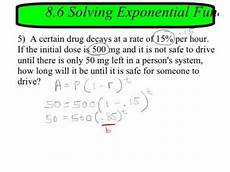 8 6 solving exponential equations in word problems youtube