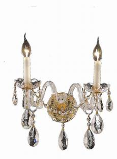 elegant lighting swarovski spectra clear crystal alexandria 2 light crystal wall sconce gold