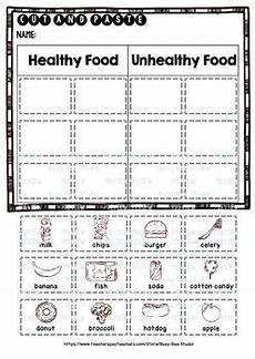 healthy unhealthy food category sort cut and paste worksheets