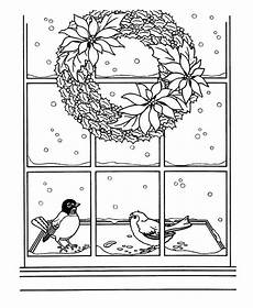 wreath hanging on window coloring pages