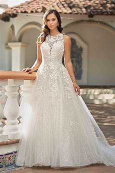 t212013 romantic embroidered lace ball gown wedding dress with halter neckline