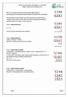 subtraction worksheets hundred thousands 10101 subtract 4 digit numbers regrouping hundreds and thousands subtraction maths worksheets for