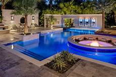 tropical pool with sunken pit seating area hgtv