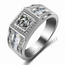 new jewelry men fine jewelry 100 real 925 sterling silver 1ct cz birthstone ring engagement