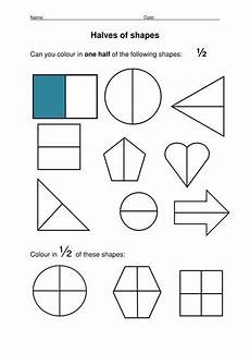 shapes worksheets eyfs 1093 halving shapes simple fractions activities fraction activities telling time activities