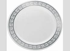 """Disposable Plastic White With Silver Brimmed 10.25"""" Dinner"""