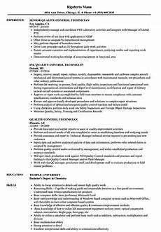 quality control technician resume sles velvet