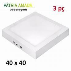 Led Panel 40x40 - kit 3 panel plafon led quadrado luminaria sobrepor 40x40
