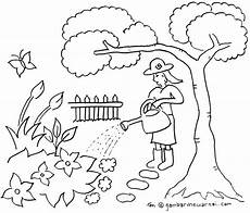 Mewarnai Taman Bunga Sketsa Buku Mewarnai Warna