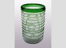 Mexican Glassware   Emerald Green Spiral drinking glasses