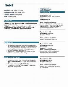 resume templates for bcom freshers download free