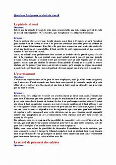 questions r 233 ponses en droit du travail