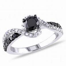 3 4 ct t w enhanced black diamond and lab created white sapphire swirl ring in sterling silver