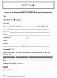 event registration form template
