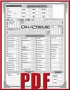 call of cthulhu character sheet cthulhu character sheets