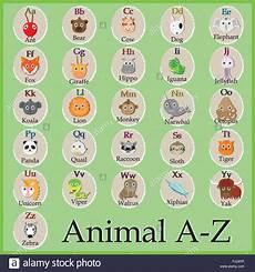 Niedliche Tier Alphabet Lustige Comic Figur A B C D