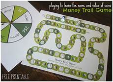 relentlessly fun deceptively educational money trail board game free printable to teach coin