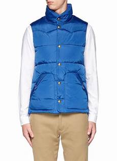 scotch soda reversible puffer vest jacket in blue for