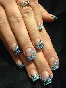 winter blingy acrylic nails with images acrylic nails