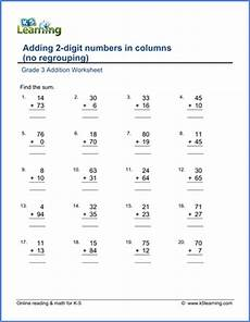 addition worksheet adding 2 digit numbers in columns no regrouping k5 learning