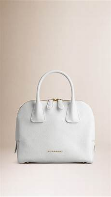 lyst burberry small grainy leather bowling bag in white