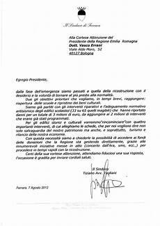 lettere al sindaco lettera sindaco al presidente della regione errani