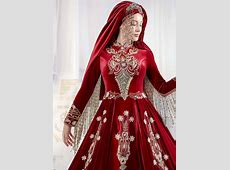 Dark Red Long Sleeve Luxury Muslim Hijab Clothing Evening
