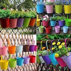 Colors Flower Metal Hanging Pots Garden Balcony Wall