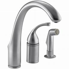kitchen faucet kohler kohler forte single handle standard kitchen faucet with side sprayer in brushed chrome k 10430 g