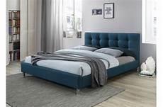 lit design lit bleu 160 en tissu avec t 234 te de lit capitonn 233 e