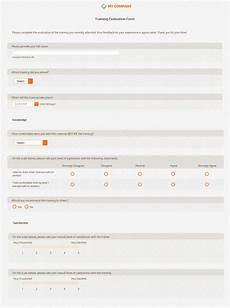 free training evaluation form template feedback