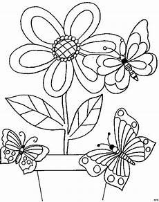 Ausmalbilder Schmetterling Blume Drei Schmetterlinge Mit Blume Ausmalbild Malvorlage