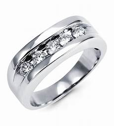 mens 14k white gold diamond channel set wedding ring wedding bands bridal jewelry