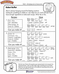 third grade measurement worksheets and printables 1378 quot robot buffet quot 3rd grade measurement worksheets for jumpstart js math worksheets
