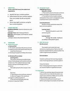 basic sentence pattern worksheets for grade 4 529 lesson plan basic sentence pattern