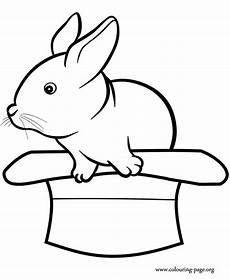 rabbits and bunnies a rabbit in a hat coloring page