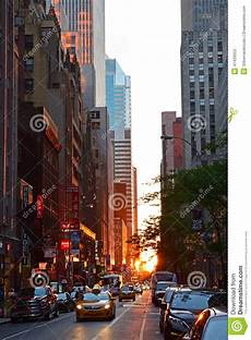 sunset seen from new york city concrete jungle editorial