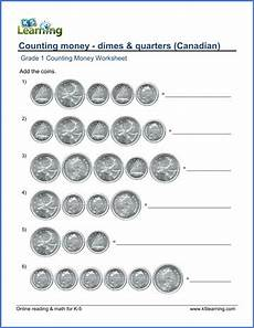 money worksheets grade 1 canadian 2167 grade 1 counting money worksheets dimes and quarters canadian k5 learning