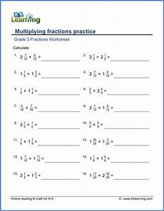 grade 5 math worksheet fractions multiplying fractions practice k5 learning