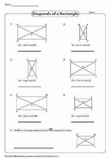 rectangle measurement worksheets 1587 find the missing measure properties of a diagonal rectangle properties perimeter of