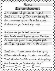 cursive handwriting worksheets poems 22053 cursive copywork poetry handwriting practice by apples and bananas education