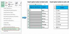 how to insert radio buttons or option buttons in excel