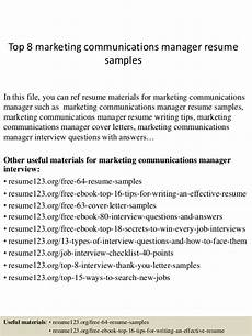 top 8 marketing communications manager resume sles